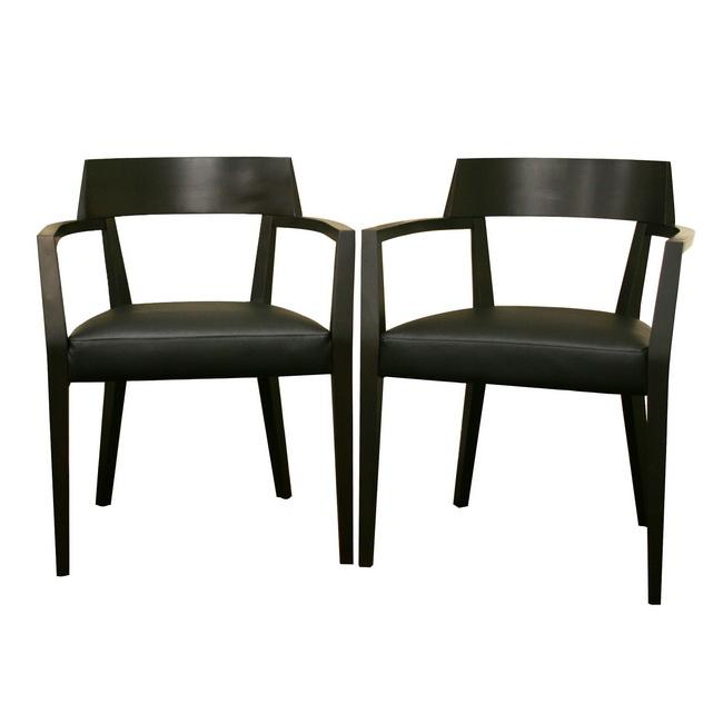 Laine Wenge Wood Faux Leather Modern Dining Chairs Set of