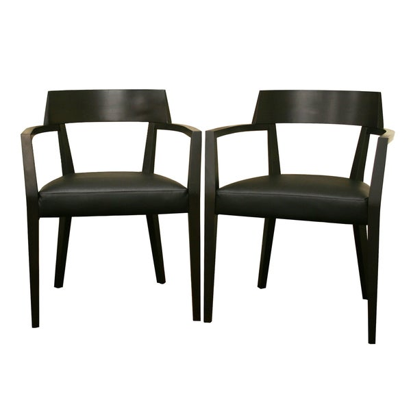 Laine Wenge Wood/ Faux Leather Modern Dining Chairs (Set Of 2)