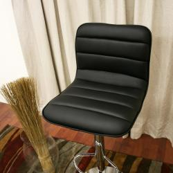 Lyris Black Faux Leather Modern Bar Stools (Set of 2)