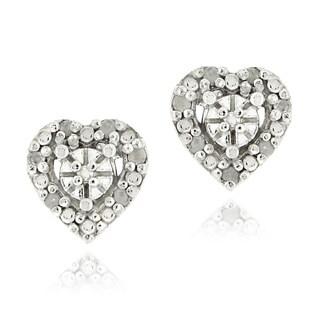 DB Designs Sterling Silver 1/8ct TDW Diamond Heart Earrings (I-J, 12-13)