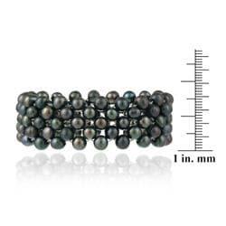 Glitzy Rocks FW 3-row Peacock Pearl Stretch Bracelet (5-7 mm) - Thumbnail 2