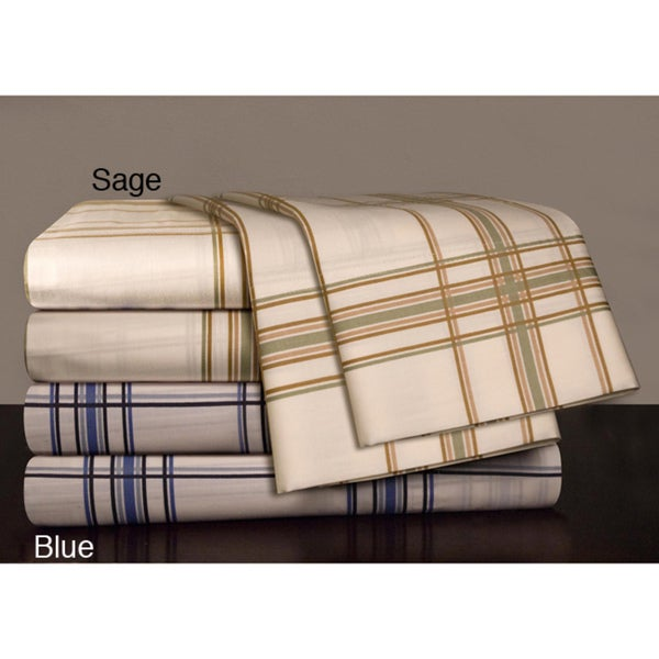 Egyptian Cotton 300 Thread Count Plaid Print Sheet Set