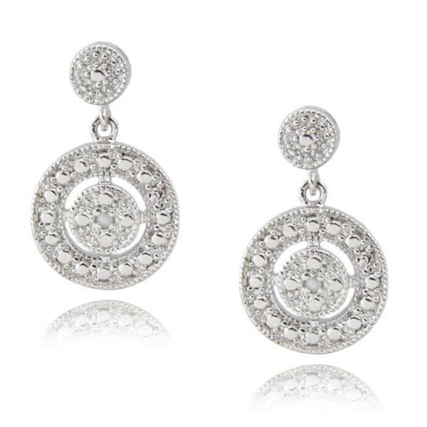 Sterling Silver Diamond Accent Circle Drop Earrings