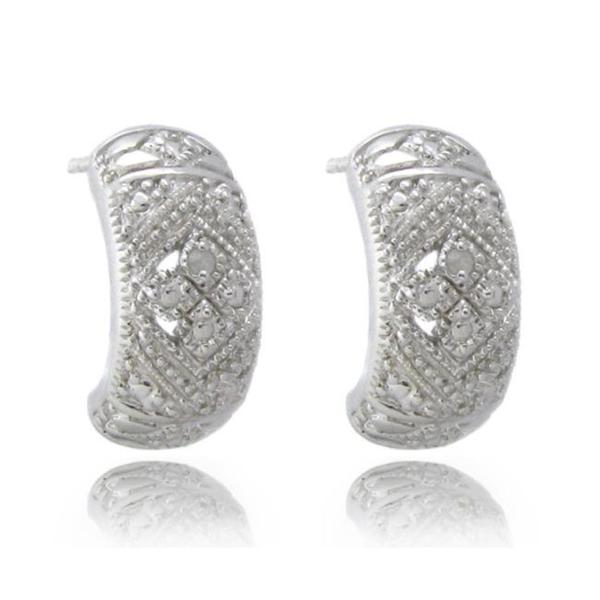 Sterling Silver Diamond Accent Half Hoop Earrings