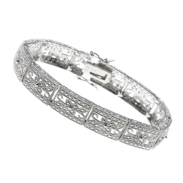 Finesque Sterling Silver 1/10ct TDW Diamond Filigree Flower Bracelet (I-J, I2-I3)