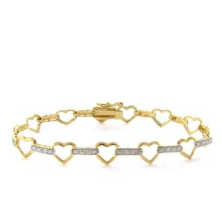 Finesque 18k Gold over Sterling Silver Diamond Accent Heart Link Bracelet