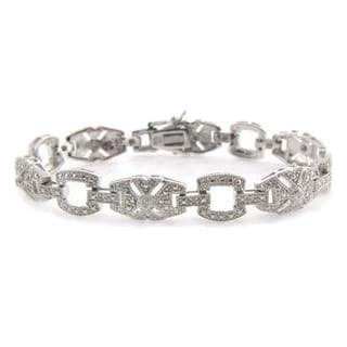Finesque Sterling Silver 1/10ct TDW Diamond Art Deco Bracelet