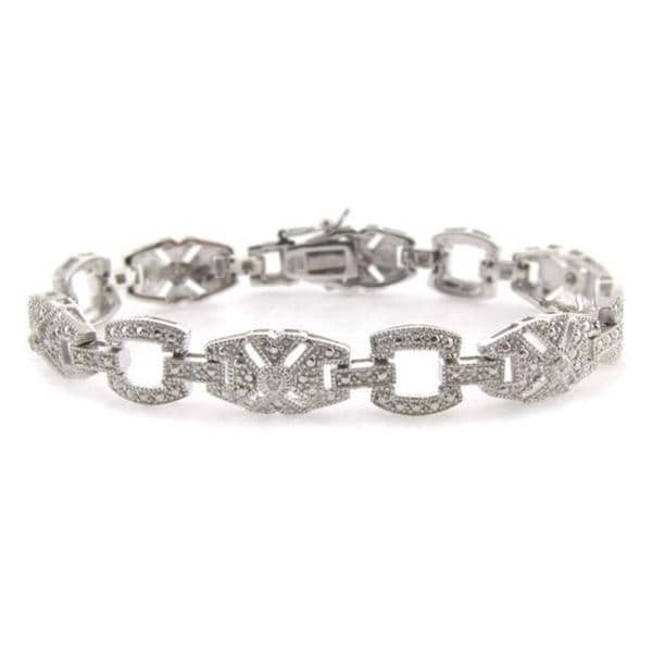 Finesque Sterling Silver 1/10ct TDW Diamond Art Deco Bracelet