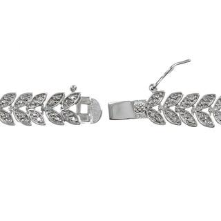 Finesque Sterling Silver 1/2ct TDW Diamond Leaf Bracelet