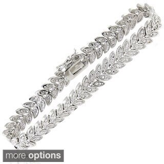 Finesque Sterling Silver 1/2ct TDW Diamond Leaf Bracelet (2 options available)