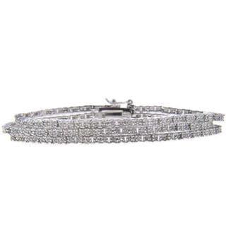 Sterling Silver 2ct TDW Diamond 3-strand Link Bracelet