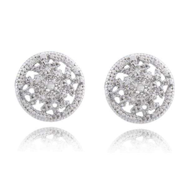 Finesque Sterling Silver Diamond Accent Medallion Earrings