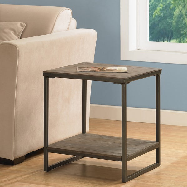 Shop Elements Brown Grey End Table With Shelf Free Shipping Today