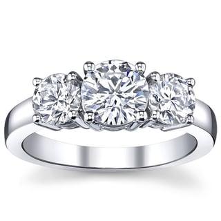 14k White Gold 1ct TDW 3-stone Engagement Ring (I, VS2)