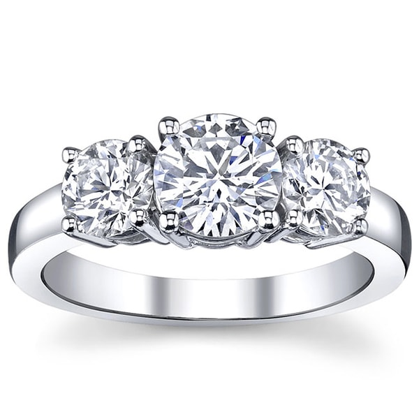 14k White Gold 1ct TDW 3-stone Engagement Ring (I, VS2)