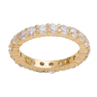 Kate Bissett Gold Over Sterling Silver Stackable Clear Cubic Zirconia Eternity Band