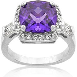 Kate Bissett Silvertone Purple and Clear Cubic Zirconia Fashion Ring