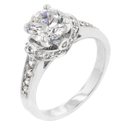 Kate Bissett Silvertone Clear Cubic Zirconia Cocktail Ring