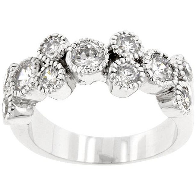 Kate Bissett White Silvertone Clear Cubic Zirconia Fashion Ring