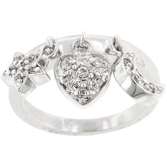 Kate Bissett Silvertone Clear Cubic Zirconia Triple Charm Ring