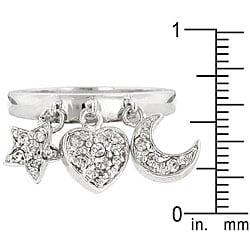 Kate Bissett Silvertone Clear Cubic Zirconia Triple Charm Ring - Thumbnail 1