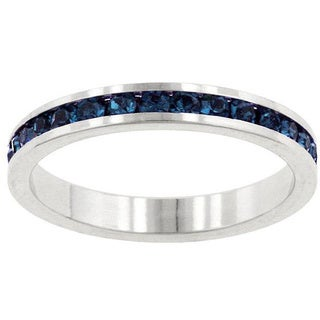 Kate Bissett Silvertone Montana Blue Cubic Zirconia Stackable Eternity Band