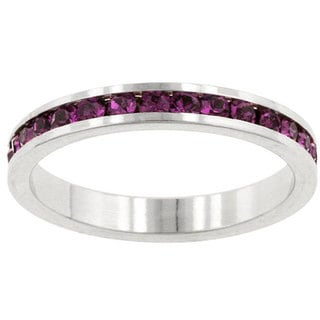 Link to Kate Bissett Silvertone Purple Stackable Cubic Zirconia Stackable Eternity Band Similar Items in Rings