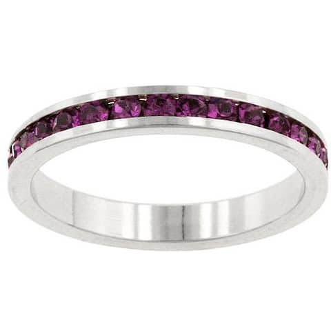 Kate Bissett Silvertone Purple Stackable Cubic Zirconia Stackable Eternity Band