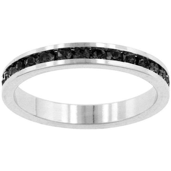 Kate Bissett Silvertone Jet Black Cubic Zirconia Stackable Eternity Band