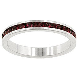 Kate Bissett Silvertone Red Cubic Zirconia Stackable Eternity Band