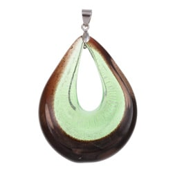Murano Inspired Glass Green and Black Oval Donut Pendant