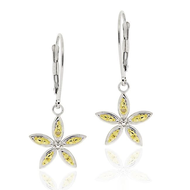 DB Designs Two-tone Sterling Silver Yellow Diamond Accent Flower Dangle Earrings - Thumbnail 0