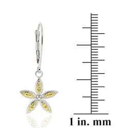 DB Designs Two-tone Sterling Silver Yellow Diamond Accent Flower Dangle Earrings