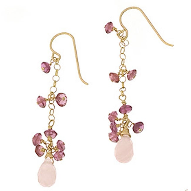 Misha Curtis Rose Quartz and Tourmaline 14k Goldfill Earrings