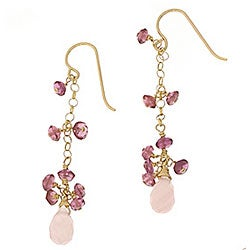 Misha Curtis Rose Quartz and Tourmaline 14k Goldfill Earrings