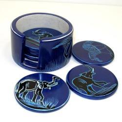 Set of 6 Handmade Blue Soapstone Coasters (Kenya)