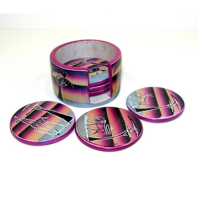 Set of 6 Handmade Sunset Soapstone Coasters (Kenya)