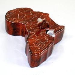 Handmade Soapstone African Map Keepsake Box (Kenya)
