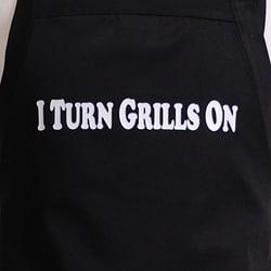 'I Turn Grills On' Men's Flirty Black Apron - Thumbnail 1