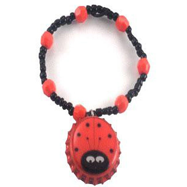 Red Ladybug Bottle Cap Charm Bracelet