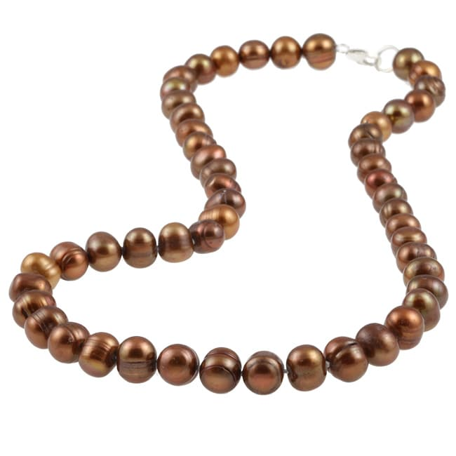 Sterling Silver Brown Freshwater Pearl Necklace (7-8 mm)
