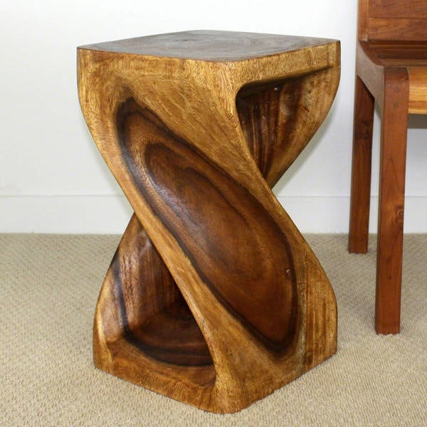 12 inches Square x 20-inch Wooden Hand-carved Walnut Oil Twist Stool ( : carved wood stool - islam-shia.org