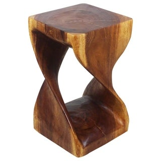 "Handmade Walnut Oil Wood Twist Stool - 12"" x 12"" x 20"" (Thailand)"