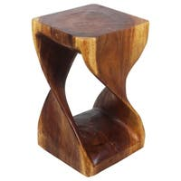 Handmade 12 inches Square x 20-inch Wooden Hand-carved Walnut Oil Twist Stool (Thailand)