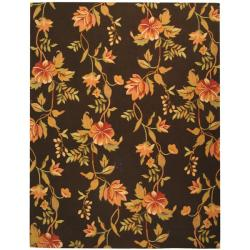 Safavieh Hand-hooked Garden Vines Brown Wool Rug - 7'9 x 9'9 - Thumbnail 0