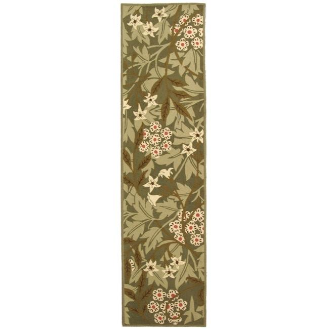 Safavieh Hand-hooked Patches Green Wool Runner (2'6 x 10')
