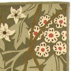 Safavieh Hand-hooked Patches Green Wool Runner (2'6 x 10') - Thumbnail 1