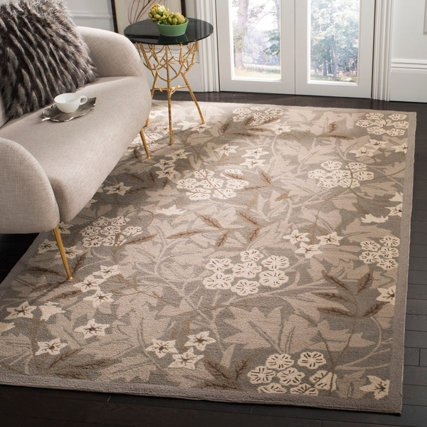 """Safavieh Hand-hooked Patches Green Wool Rug - 7'-9"""" X 9'-9"""""""