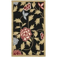 Safavieh Hand-hooked Garden Black Wool Runner Rug - 2'6 x 4'