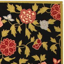 "Safavieh Hand-Hooked Garden Black Wool Floral Rug (3'9"" x 5'9"") - Thumbnail 1"